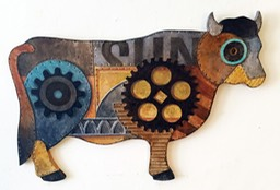 FAUX METAL COW